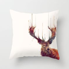 Red Deer // Stag Throw Pillow by Amy Hamilton