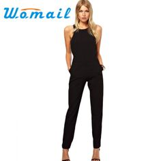 834f3b41238f1c Womail Casual 2017 Solid Color Romper Playsuit O Neck Sleeveless Cotton  Black Rompers Womens Jumpsuit femme Salopette Gift 1pc-in Jumpsuits from  Women's ...
