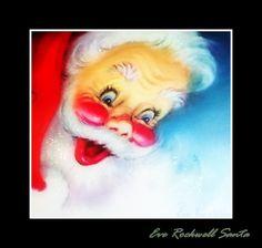 Vintage Glittered Eve Rockwell Jolly Santa Christmas Greeting Card Too Cute Vintage Christmas Cards, Retro Christmas, Christmas Greeting Cards, Christmas Greetings, Vintage Cards, Vintage Paper, The Night Before Christmas, Christmas Images, Santa Christmas