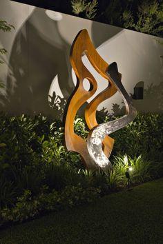 Branksome Organic sculpture, light play, lit by night