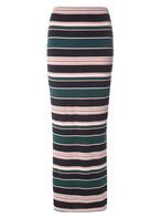 Womens Green And Blush Stripe Maxi Skirt- Green