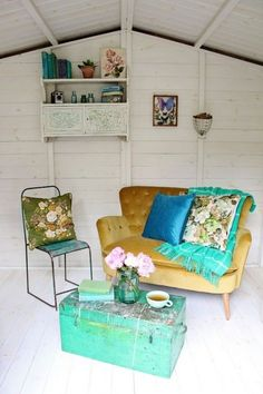 This Summerhouse She-shed decor is perfect inspiration for my Boho she shed. My summerhouse makeover - how to pull vintage finds together for a reading nook makeover - sponsored by AXA Backyard Sheds, Outdoor Sheds, Outdoor Spaces, Summer House Interiors, Shed Makeover, Shed Kits, She Sheds, Shed Design, Garden Design