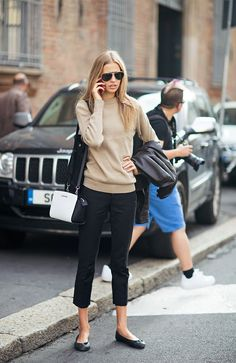 Ruben Apparel - #womenswear #style #winter #fall #beige #sweater #flat #shoes #black #pants