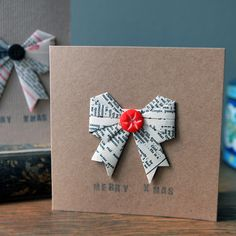 Christmas Card - Origami Bow » Pretty Dandy