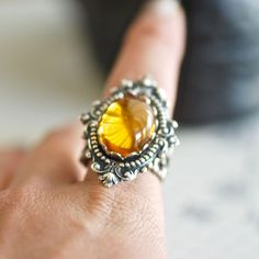 NEW  Liquid Topaz Ring  VIctorian Goth Topaz by blackpersimmons, $26.00