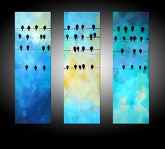 Abstract Triptych Painting Original Modern Art - Birds on a Wire - 35x35 Inches - MADE TO ORDER. $350.00, via Etsy.