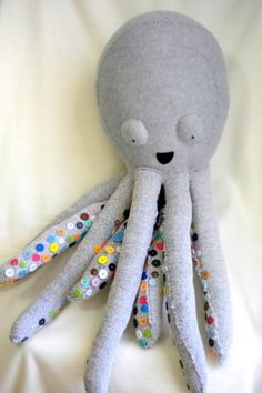 Huge Plush Octopus with Rainbow Buttons Toy