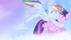 Twilight Sparkle Alicorn and Rainbow Dash flying buddies : mlp friendship is magic wallpaper