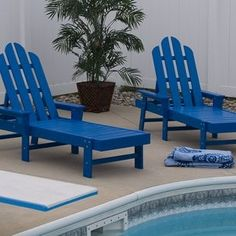 Poly Wood Long Island Adirondack Patio Chaise Lounge Color Choice