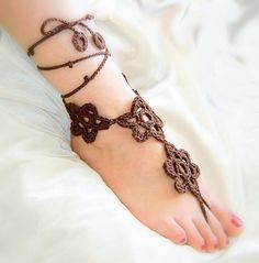 Chocolate flowers crochet barefoot sandals by agatsknitting
