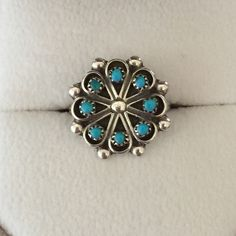 💥FIRM💥Signed Turquoise Flower Ring Petite Zuni turquoise flower ring with silver balls between the petals, signed R Disht, size 4 1/2 (see ring mandrel) - perfect pinky ring. Jewelry Rings