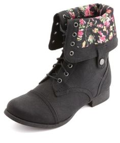 Charlotte Russe Floral-Lined Fold-Over Combat Boots on shopstyle.com $19.99. Better hurry, there's a sale at charlotte russe!