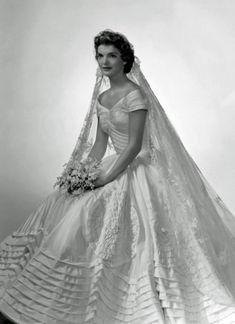 Jackie Kennedy in her wedding dress. Wedding dress inspiration