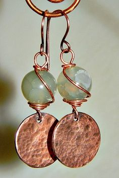 Hammerd Disk & Agate Earrings by Zoraida - Art Fire - kjs