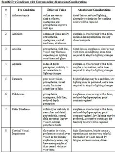 Module 4. Eye Report Checklist with Specific Eye Conditions with Corresponding Adaptations pg 2.