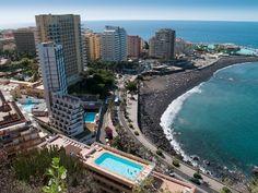 The beaches and hotels of Puerto de la Cruz in Tenerife