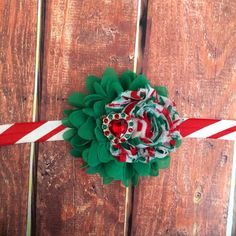 Christmas Headband- Holiday Headband, Candy Cane Headband, Red, Green, White, Headband, Newborn, Photo Prop by ARoseyMess on Etsy