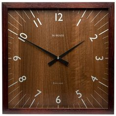 In House - Square Walnut Wall Clock with Walnut Frame   Peter's of Kensington $112