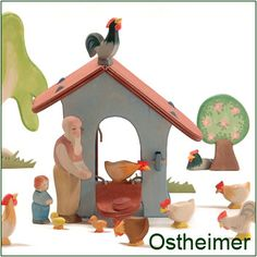 Natural wooden toys and animal dolls by Ostheimer