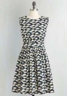 Too Much Fun Dress in Airplanes. If overloading on fun were such a thing, we say go all out in this airplane-printed dress, found exclusively at ModCloth! #blue #modcloth