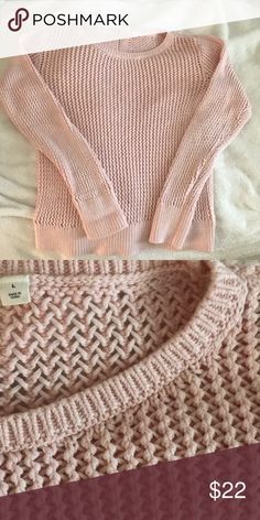 5a95743836 GAP Light Pink Waffle Knit Sweater Light Link Waffle Knit Sweater GAP  Sweaters Crew   Scoop