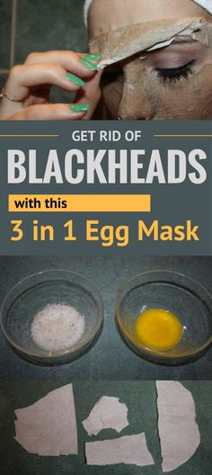 Get Rid of Blackheads with this 3 in 1 Egg Mask TheBeautyMania net Blackheads On Cheeks, Get Rid Of Blackheads, Beauty Care, Beauty Skin, Health And Beauty, Beauty Tips, Diy Beauty, Beauty Hacks, Blackhead Mask
