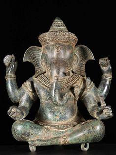 "Beautiful Antique Verdigris Patina Ganesh Statue 24"" http://www.dharmasculpture.com/category/new-arrivals.html"