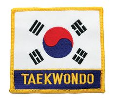 """KOREA FLAG PATCH with """"TAE KWON DO"""" Total Body Toning, Workout Log, Flag Patches, Kettlebell, Chicago Cubs Logo, Karate, Martial Arts, Kids Rugs"""