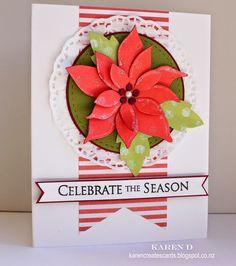 Karen Cria Cartões: Cartão de Natal Feliz segunda-feira Desafio # 109 - Use flores em seu cartão de Natal.