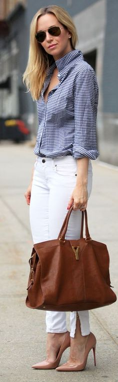Spring / Summer - street chic style - business casual - office wear - work outfit - white pants or skinnies + nude stilettos + brown handbag + navy and white gingham shirt