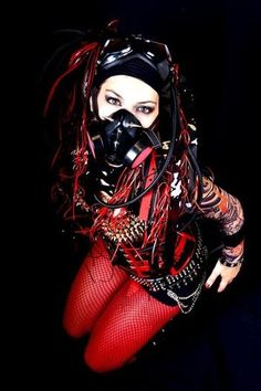 The cyber side of goth. Gothic, cyber, and industrial influences. Industrial Goth, Industrial Dance, Goth Subculture, Gothic Aesthetic, Goth Beauty, Cybergoth, Emo Goth, Gothic Fashion, Steampunk Fashion