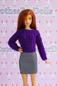 e2c4c99c8a Barbie doll sweater. Doll clothes handmade. Knitted purple jumper. Outfit  for Original