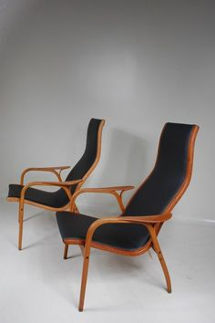 1950's early edition Lamino chair with teak frame and new black leather upholstery  Produced:     Svedese / Sweden Design:     Inge Ekstrom