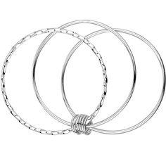 "Merdia 925 Sterling Silver Bangle Bracelets Fashionable Three Interlocking for Girls and Women 2.4""(6cm)"