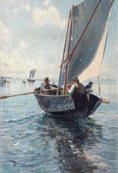 Fishermen in a Boat -   Johan Krouthen  (1858 -1932)