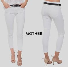Cotton Blend Mid-Rise White Slim, Skinny 26 Jeans for Women. NWT $185 MOTHER  THE LOOKER ...