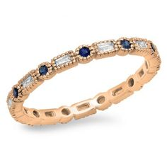 Share for $20 off your purchase of $100 or more! 0.40 Carat (ctw) 14K Rose Gold Round & Baguette Blue Sapphire & White Diamond Ladies Vintage Style Anniversary Wedding Eternity Band Stackable Ring - Dazzling Rock #https://www.pinterest.com/dazzlingrock/