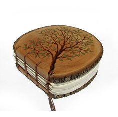 Branch of Life - Rustic Round Natural Bark Bradford Pear Log Slice Wooden Journal by Tanja Sova Part of a TAGT team Etsy treasury, click it to see more. Handmade Journals, Handmade Books, Handmade Wooden, Altered Books, Altered Art, Wooden Books, Book Binding, Book Of Shadows, Mini Books