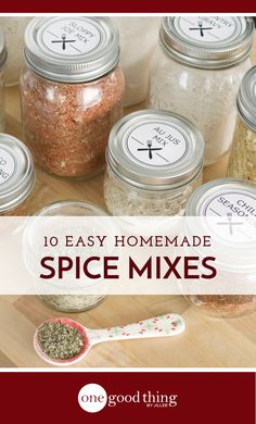 Making your own homemade spice mixes has never been easier! Learn how to make 10 different mixes, and dspiceownload free recipe cards and a shopping list! Homemade Dry Mixes, Homemade Spice Blends, Homemade Spices, Homemade Seasonings, Spice Mixes, Homemade Italian Seasoning, Soup Mixes, Homemade Onion Soup Mix, Homemade Food Gifts