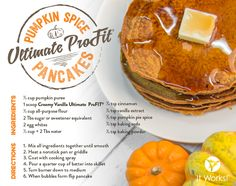 It Works Greens & ProFit Recipes - Pumpkin Spice Pancakes Pumpkin Spice Pancakes, Pumpkin Pie Spice, Pumpkin Puree, Protein Shake Recipes, Protein Foods, Protein Shakes, Profit Recipes, It Works Shakes, It Works Greens