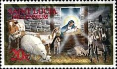 Sello: Nativity (Santa Lucía) (Christmas 1999) Mi:LC 1121,Sn:LC 1111