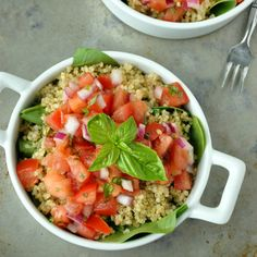 Skip the baguette and serve up this flavorful bruschetta topping on a bed of spinach and fluffy quinoa! Vegan and Gluten-Free.