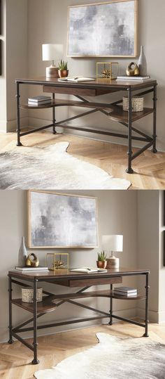 I love this writing desk! I love the shelf on underneath the top and the industrial accents. Beautiful design!!! #homedecorideas #farmhousedecor #rustichomedecor #ad #bedroomdecor #livingroomdecor
