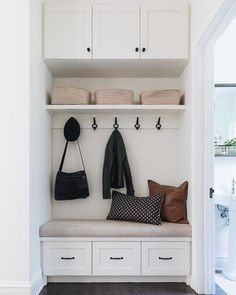 after a long holiday break the kids are back in school today and our mudroom looks empty! It is bittersweet to have a quite house to myself although … – Mudroom Entryway Hallway Storage, Storage Spaces, Closet Storage, Storage Ideas, Coin Banquette, Small Mudroom Ideas, Small Entryway Decor, Mudroom Laundry Room, Closet Mudroom