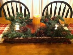 My christmas table centerpiece , thanks to Pinterest