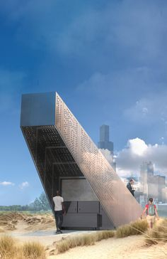 The structure comprises four main prefabricated components – two wall trusses, bleacher roof and floor – which can be transported by truck, craned into place and mechanically fixed together as a freestanding object. — Andrew Simpson | Melbourne, Australia — Chicago Architecture Biennial Lakefront Kiosk Competition