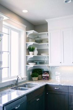 What's the best part of this kitchen shot? The corner shelving unit? The contrasting cabinets? The marble countertops? Home Kitchens, Kitchen Design Small, Kitchen Renovation, Contrasting Kitchen Cabinets, Home Decor Kitchen, Kitchen Interior, Interior Design Kitchen, Kitchen Redo, Modern Kitchen Design