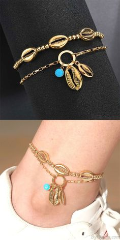Cheap Bohemian Handmade Beaded Metal Shell Personality Double Decker Anklet For Big Sale! Cute Bracelets, Fashion Bracelets, Women Accessories, Fashion Accessories, Bridesmaid Bracelet, Bare Foot Sandals, Bracelet Designs, Anklets, Personality