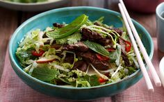 See more recipes in this week's Woman's Day. Thai Recipes, Beef Recipes, Thai Beef Salad, Rump Steak, Chinese Cabbage, Shredded Beef, Red Chilli, Fish Sauce, Coriander