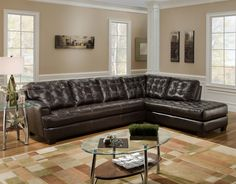 L Shape Brown Leather Couch | Chicory Brown Tufted Top Grain Leather Modern Sectional Sofa